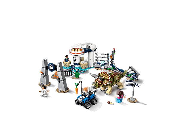 Lego JURASSIC WORLD Triceratops Jurassic Dinosaure Jouet Avec 4 Minifigures 75937