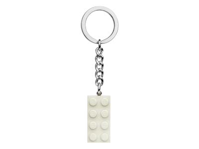 LEGO 2x4 White Metallic Key Chain (854084)