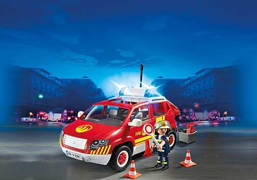 PLAYMOBIL Brandweercommandant met dienstwagen met licht en sirene (5364)