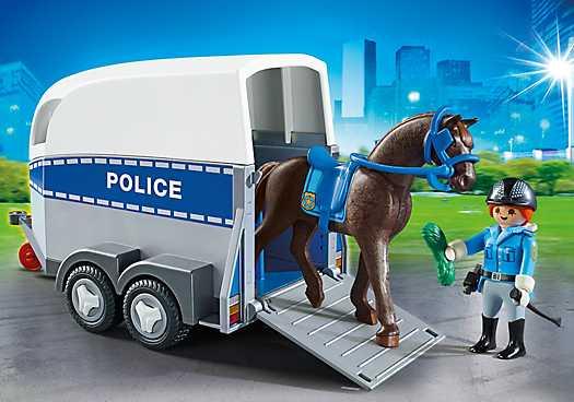 PLAYMOBIL Bereden politie met trailer (6922)