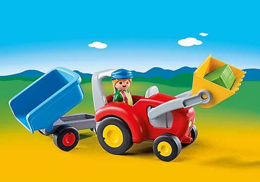 PLAYMOBIL Boer met tractor en aanhangwagen (6964)