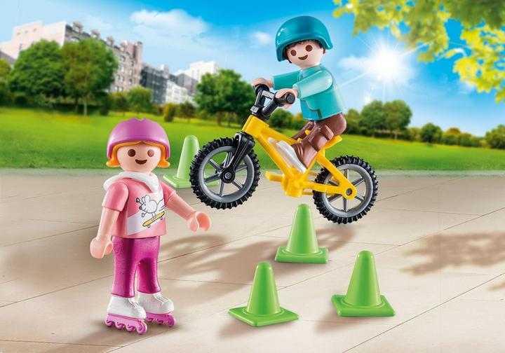 PLAYMOBIL Kinderen met fiets en skates (70061)