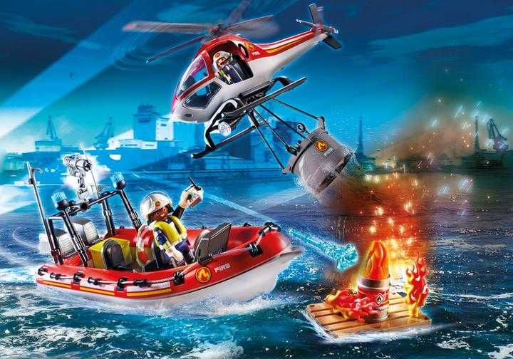 PLAYMOBIL Brandweermissie met helikopter en boot (70335)