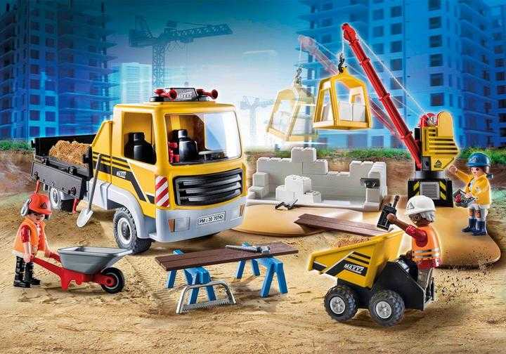 PLAYMOBIL Construction Site with Flatbed Truck (70742)
