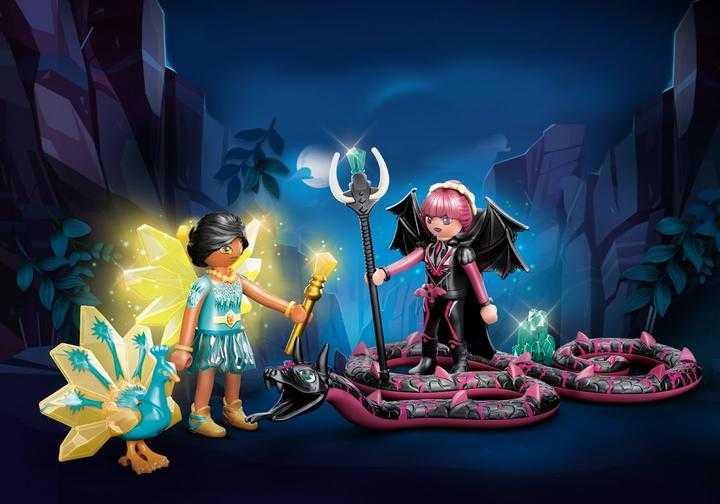 PLAYMOBIL Crystal Fairy en Bat Fairy met totemdieren (70803)