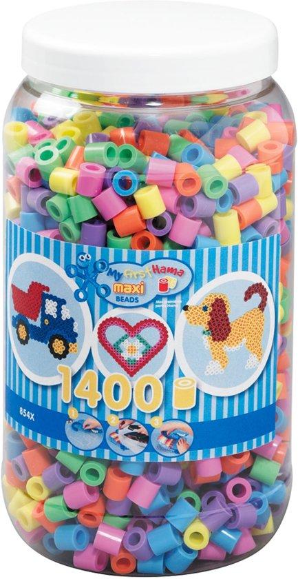 Hama 1400 pastelkleuren Maxi Strijkkralen in pot